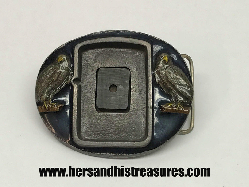 Zippo Lighter Enameled Belt Buckle With Two Eagles From Buckles Of America