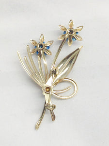 Gold Tone Blue Flower Bouquet Brooch Pin