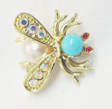 Load image into Gallery viewer, Bee Insect Gold Tone Rhinestone Brooch Pin