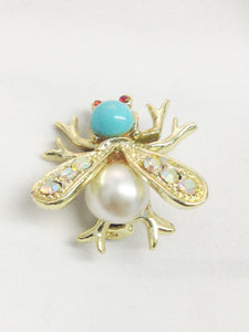 Bee Insect Gold Tone Rhinestone Brooch Pin