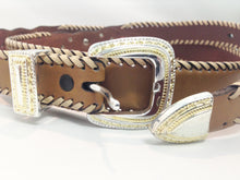Load image into Gallery viewer, Brown Leather Southwestern Style Belts Size 2X