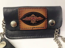 Load image into Gallery viewer, Black Leather Biker Chain Wallet W/ Biker Motorcycle Eagle Emblem