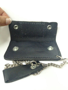 Black Leather Biker Chain Wallet W/ Black, Gray and Tan Bass Fish