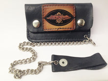 Load image into Gallery viewer, Black Leather Biker Chain Wallet W/ Biker Motorcycle Eagle Emblem www.hersandhistreasures.com/collections/wallets