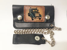 Load image into Gallery viewer, Black Leather Biker Chain Wallet Semi Truck W/Color www.hersandhistreasures.com/collections/wallets