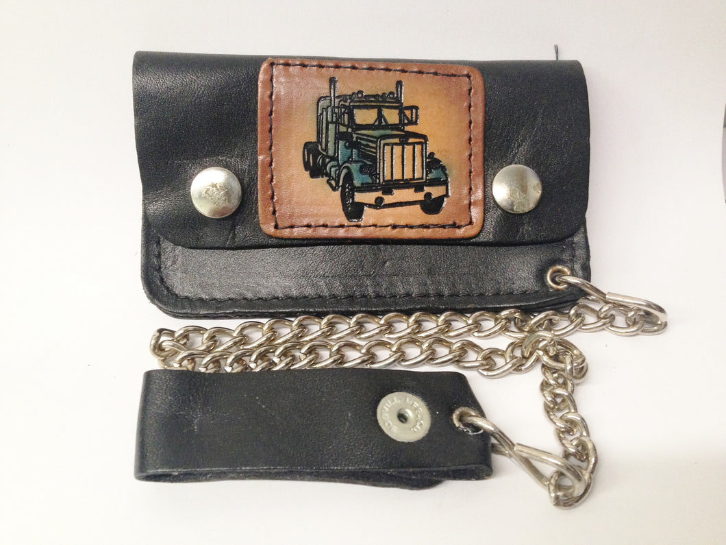 Black Leather Biker Chain Wallet Semi Truck W/Color www.hersandhistreasures.com/collections/wallets