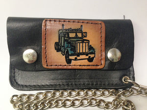 Black Leather Biker Chain Wallet Semi Truck W/Color