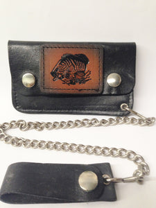 Black Leather Biker Chain Wallet W/ Black And Tan Bass Fish www.hersandhistreasures.com/collections/wallets