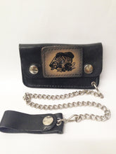 Load image into Gallery viewer, Black Leather Biker Chain Wallet W/ Black, Gray and Tan Bass Fish www.hersandhistreasures.com/collections/wallets
