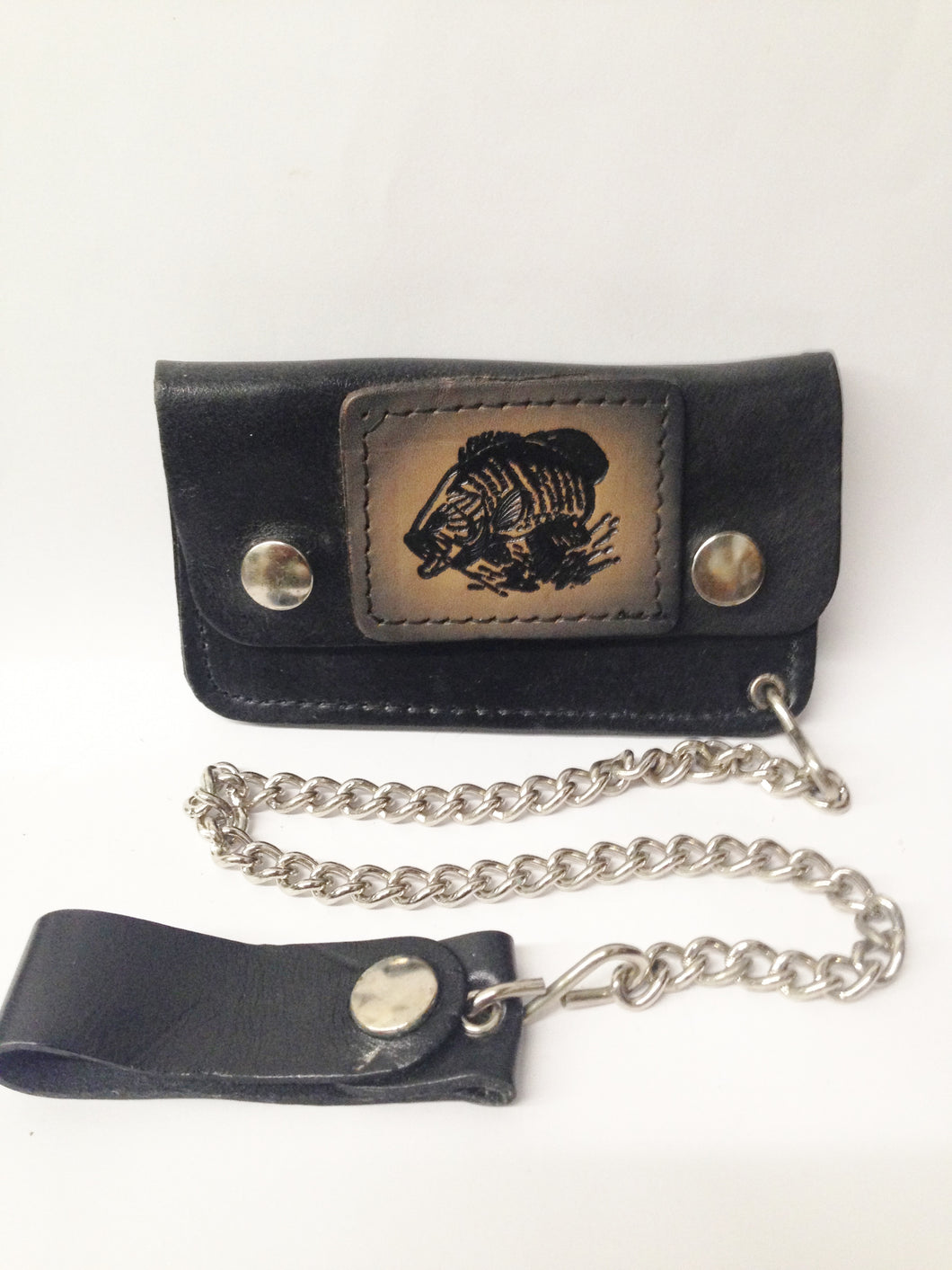 Black Leather Biker Chain Wallet W/ Black, Gray and Tan Bass Fish www.hersandhistreasures.com/collections/wallets