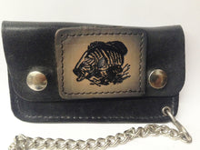 Load image into Gallery viewer, Black Leather Biker Chain Wallet W/ Black, Gray and Tan Bass Fish