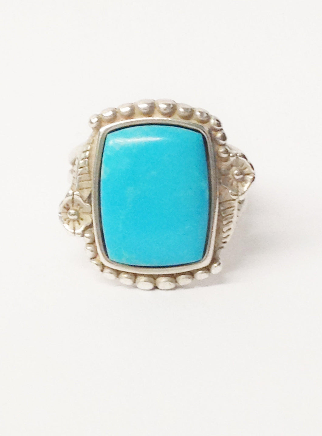 Native American Signed Square Cut Turquoise Gemstone .925 Sterling Silver Ring www.hersandhistreasures.com/collections/sterling-silver-jewelry