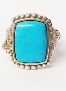 Native American Signed Square Cut Turquoise Gemstone .925 Sterling Silver Ring