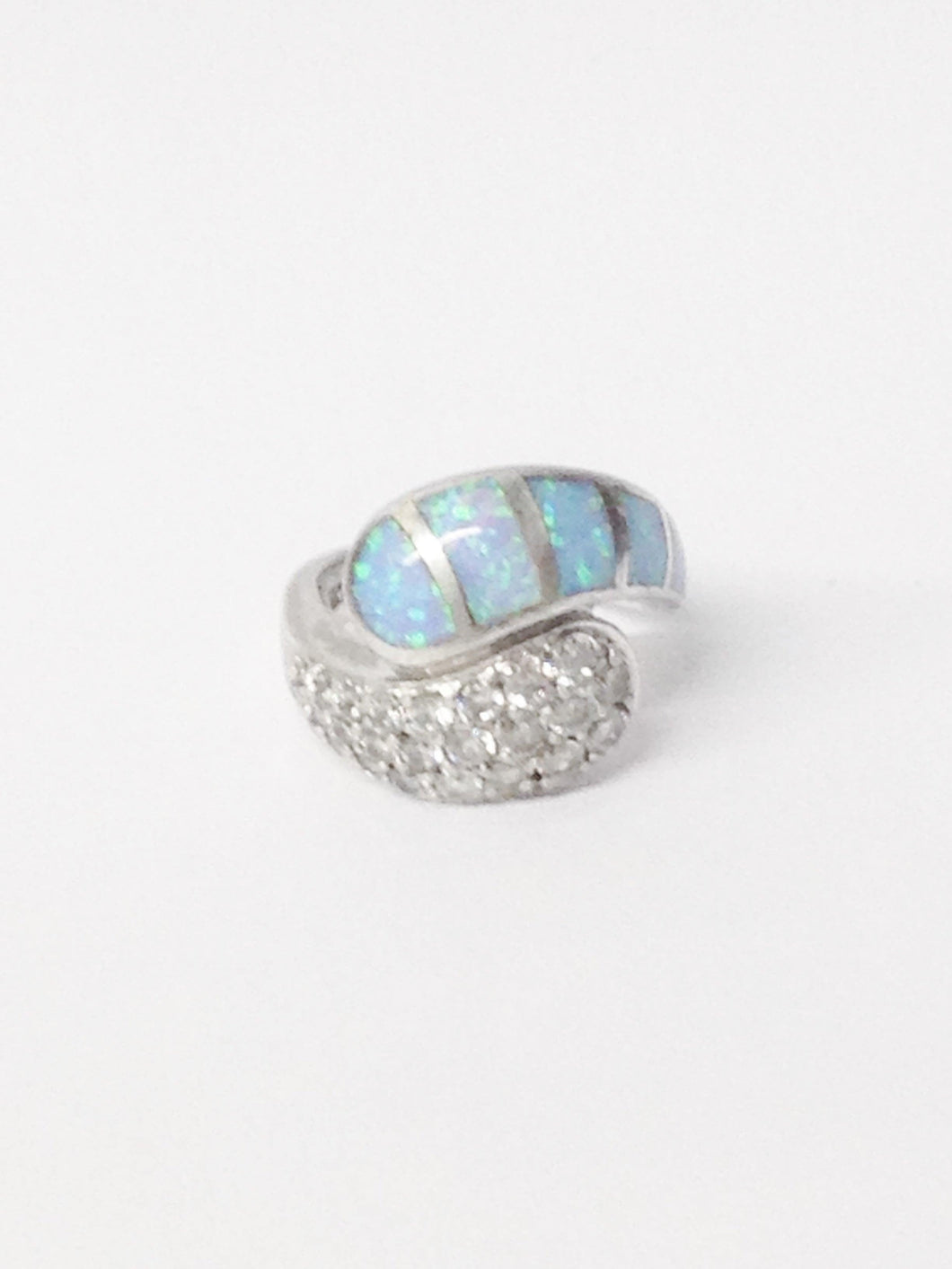 Opal Inlay And CZ .925 Sterling Silver Ring www.hersandhistreasures.com/collections/sterling-silver-jewelry