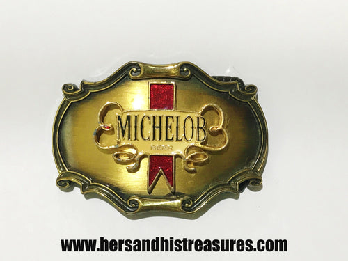 Vintage 1980 Michelob Beer Enamel Belt Buckle