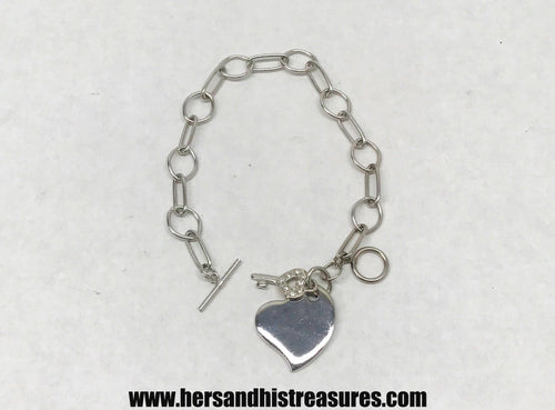 Sterling Silver Heart With Key Charms and Chain Link Bracelet