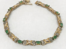 Load image into Gallery viewer, Emerald .925 Sterling Silver Tennis Bracelet With Gold Overlay