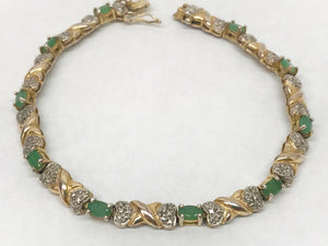 Emerald .925 Sterling Silver Tennis Bracelet With Gold Overlay