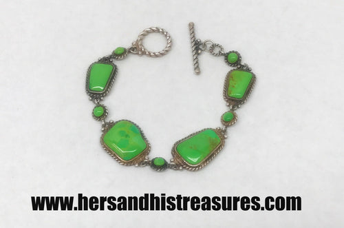 Sterling Silver With Green Turquoise Gemstones Link Bracelet
