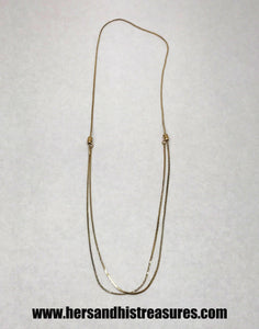 Vintage Gold Tone Adjustable Slide Necklace