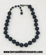 Load image into Gallery viewer, Vintage Black Glass Bead Necklace Japan
