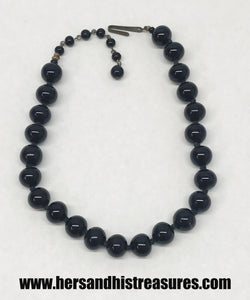 Vintage Black Glass Bead Necklace Japan