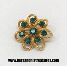 Load image into Gallery viewer, Vintage Gold Tone Brooch With Round Green Rhinestones