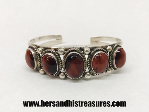 Native American Signed Red Tigers Eye Sterling Silver Cuff Bracelet