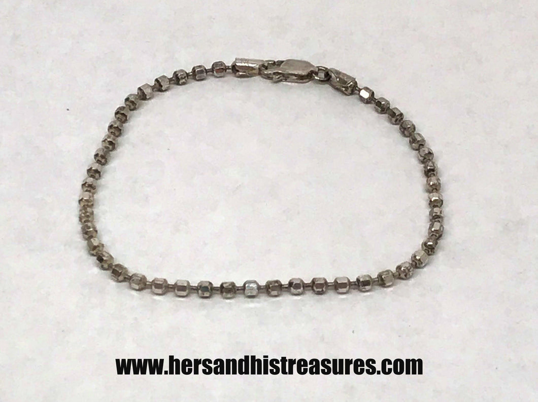 Milor Italy Ball Link Chain Sterling Silver Bracelet