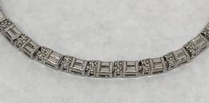 Sterling Silver Simulated Tennis Bracelet