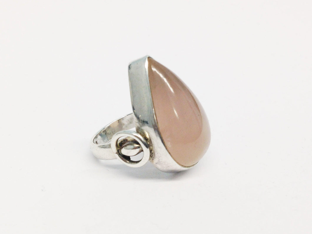 Vintage Rose Quartz Tear Drop Sterling Silver Ring www.hersandhistreasures.com/collections/sterling-silver-jewelry