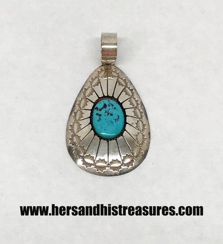 Native American Shadowbox Turquoise Pendant Signed TN Thomas Nez