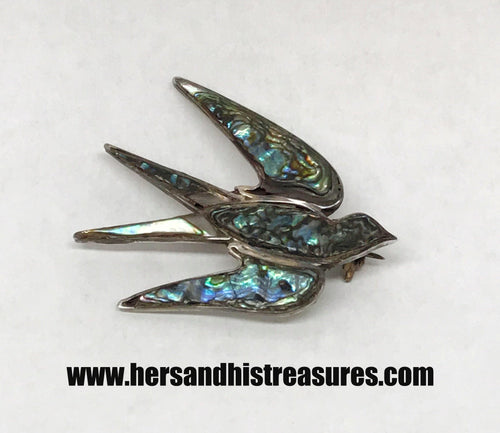 RR Guemor Inlay Abalone Bird Sterling Silver Brooch Pin