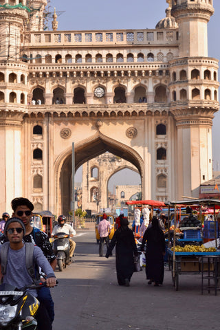 Charminar literally means 'four minarets' and is surrounded by amazing food spots offering a variety of Hyderabadi specialities.