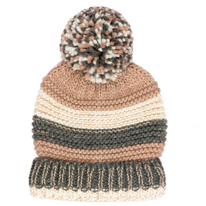 Knit Stripe Beanie Yarn Pom