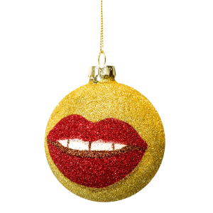 Glitter Gold Lip Ornament