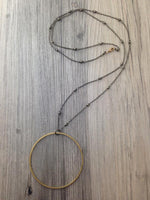 Large Brass Circle Beaded Necklace