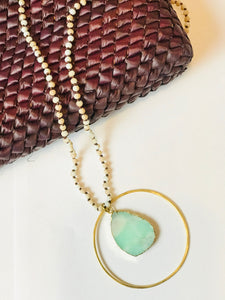 Mary Garrett beaded Necklace with Brass circle with Stone