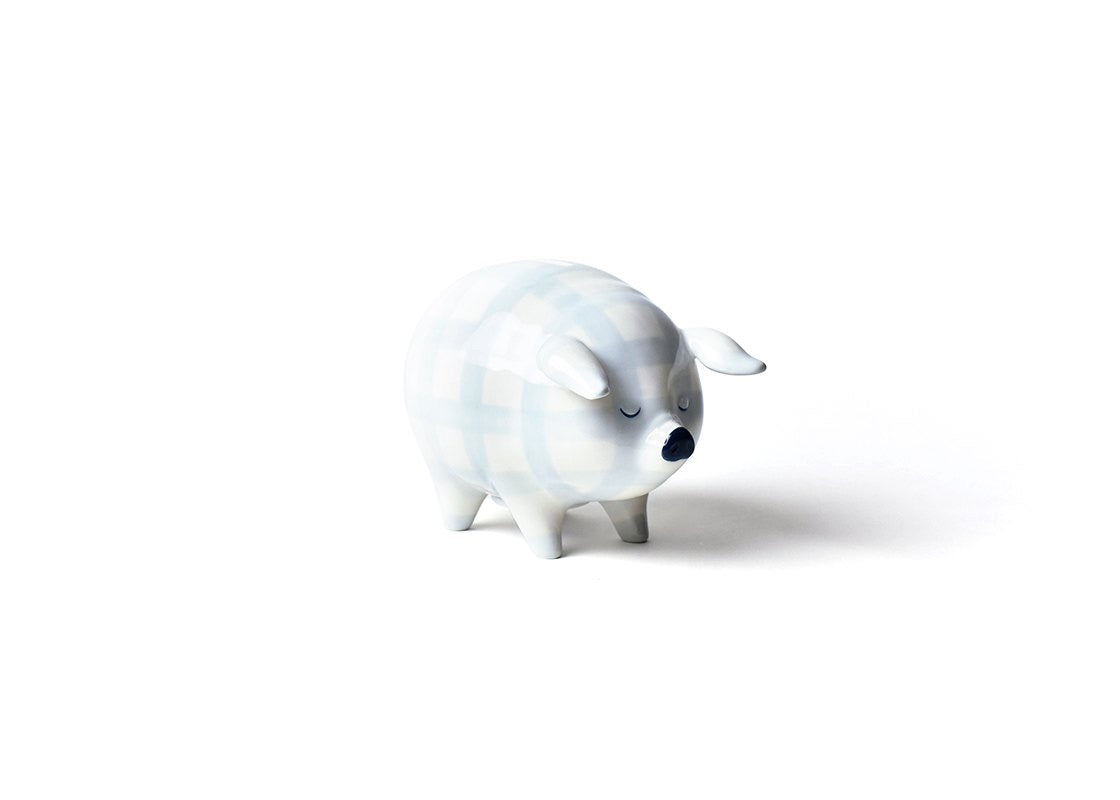 Gingham Piggy Bank Blue