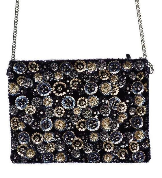 Flower Sequin on Velvet Clutch
