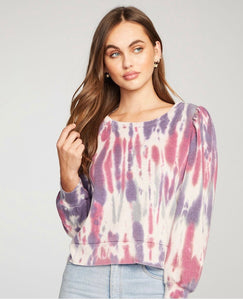 Tie Dye Rib Puff Sleeve Cuffed Top