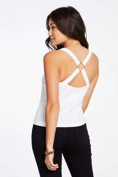 White Crop Tank with Ring