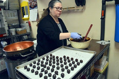 Sweet Mona's dipping chocolates for the Coupeville Chocolate Walk