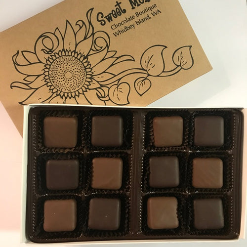 Assorted Milk and Dark Chocolate Caramel in a 12 Piece Gift Box