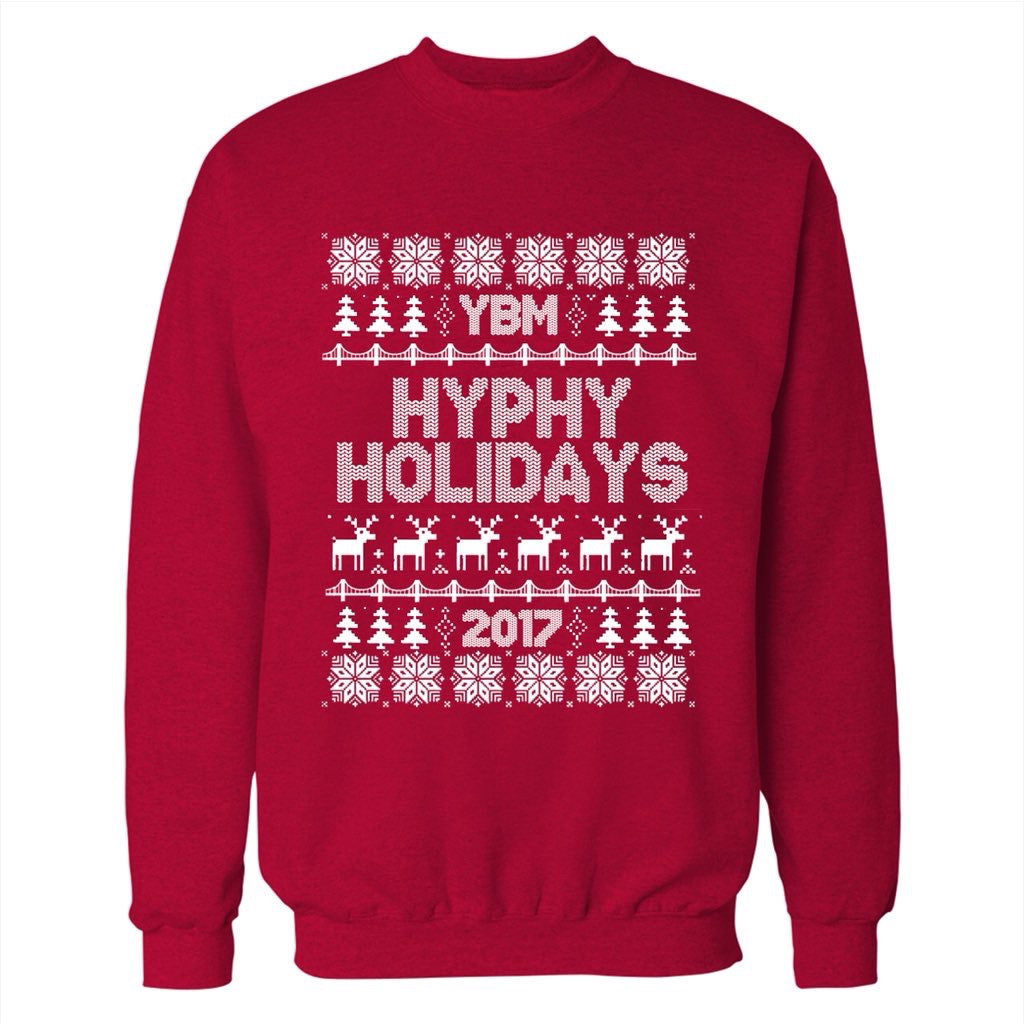 YBM HYPHY HOLIDAYS RED CREW SWEATER - SALE!!! NOW 50% OFF