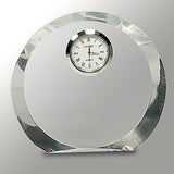Clear Crystal Round with Clock - 4 1/2""