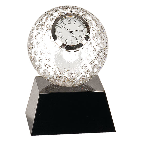 Clear Crystal Golf Ball Clock with Black Pedestal Base- 5