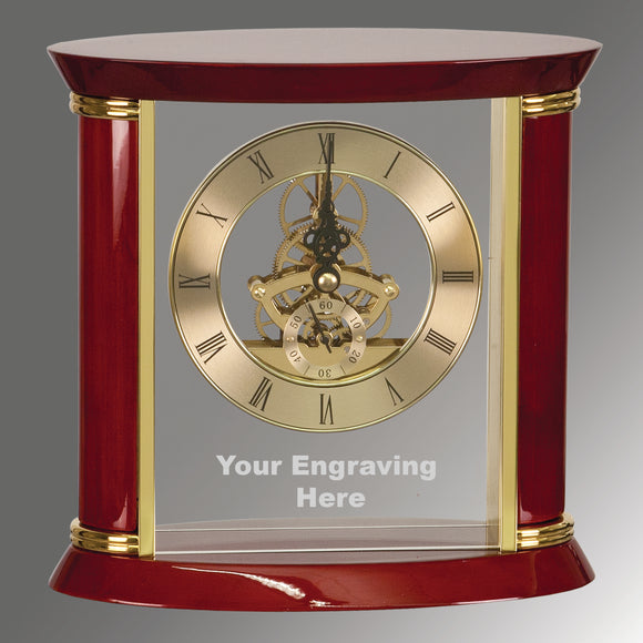 Executive Gold & Rosewood Piano Finish Clock - 7 3/4