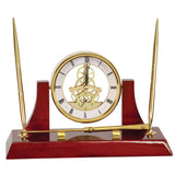 "Executive Gold/Rosewood Piano Finish Clock w/2 Pens/Letter Opener - 10 1/2"" x 6"""
