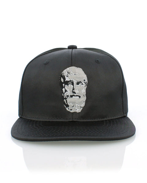 hellenistic head // reflective silk snapback. [Black]
